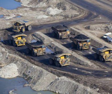 Mining Dump Trucks, Aerial Photo